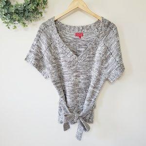 ELLE Gray White Chunky Knit Short Sleeve Sweater